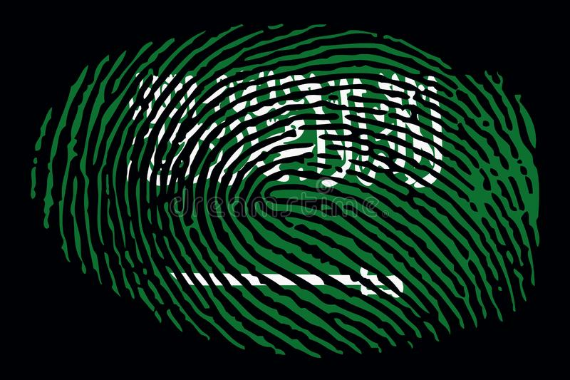 Flagge von Saudi-Arabien in Form eines Fingerabdruckes auf einem schwarzen Hintergrund vektor abbildung