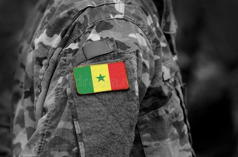 Flagge von Senegal auf Soldaten bewaffnen Senegal-Flagge auf Militär-unifor stockfotografie