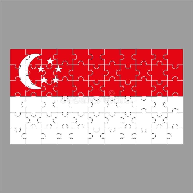 Flagge von Singapur von den Puzzlespielen auf einem grauen Hintergrund vektor abbildung