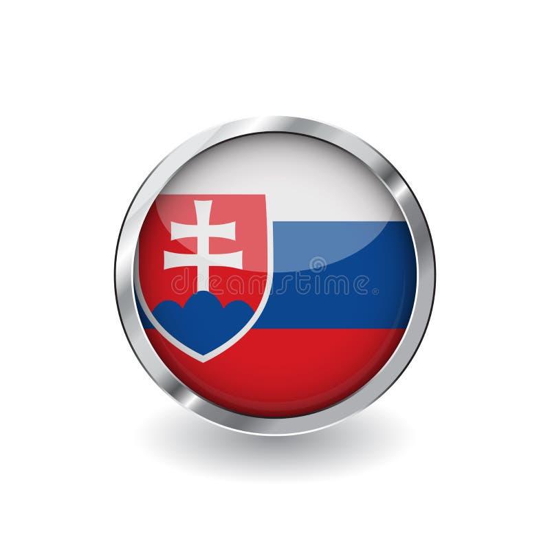 Flagge von Slowakei, Knopf mit Metallrahmen und Schatten Slowakei-Flaggenvektorikone, Ausweis mit glattem Effekt und metallische  lizenzfreie abbildung