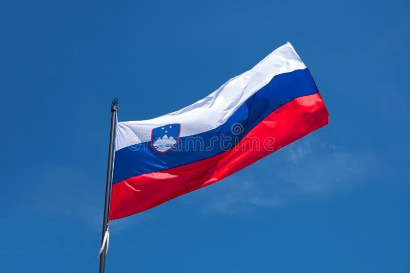 Flagge von Slowenien wellenartig bewegend in Wind, Hintergrund des blauen Himmels stockfotografie