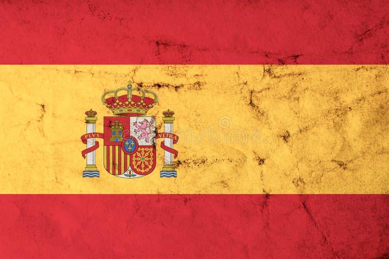Flagge von Spanien mit alter schmutziger Schmutzbeschaffenheit lizenzfreie abbildung
