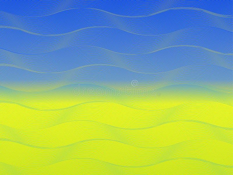 Flagge von Ukraine mit abstrakten Wellen in der Flaggenfarbe stockbilder