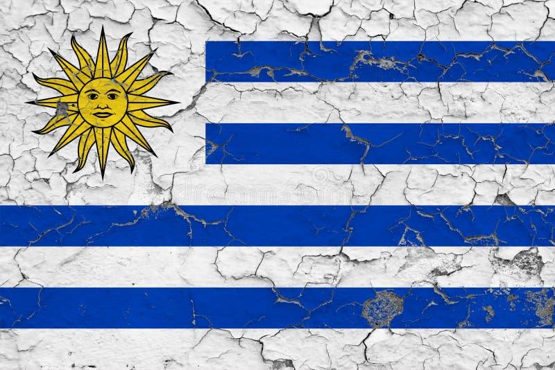 Flagge von Uruguay malte auf gebrochener schmutziger Wand Nationales Muster auf Weinleseartoberfl?che lizenzfreie abbildung