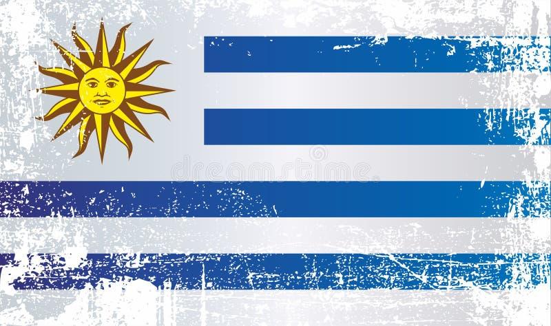 Flagge von Uruguay, orientalische Republik von Uruguay Geknitterte schmutzige Stellen stock abbildung