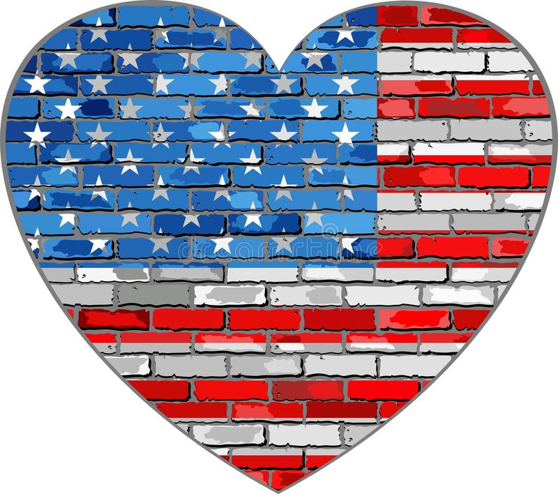 Flagge von USA auf einer Backsteinmauer in der Herzform vektor abbildung
