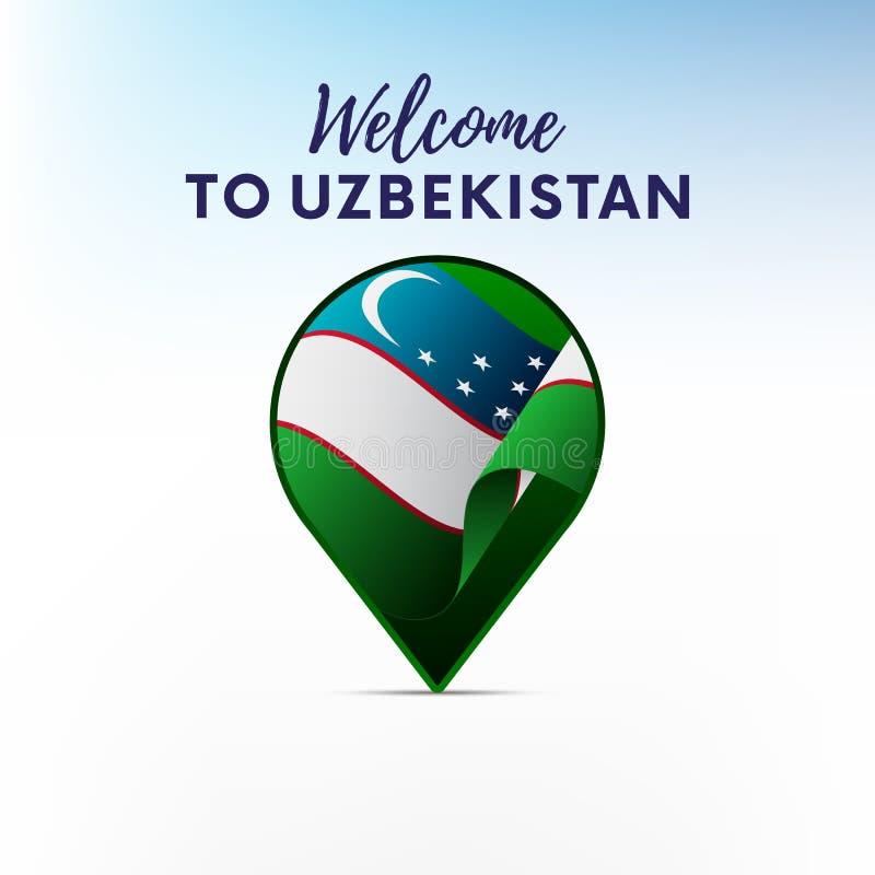Flagge von Usbekistan in Form des Kartenzeigers oder -markierung Willkommen zu Usbekistan Auch im corel abgehobenen Betrag vektor abbildung