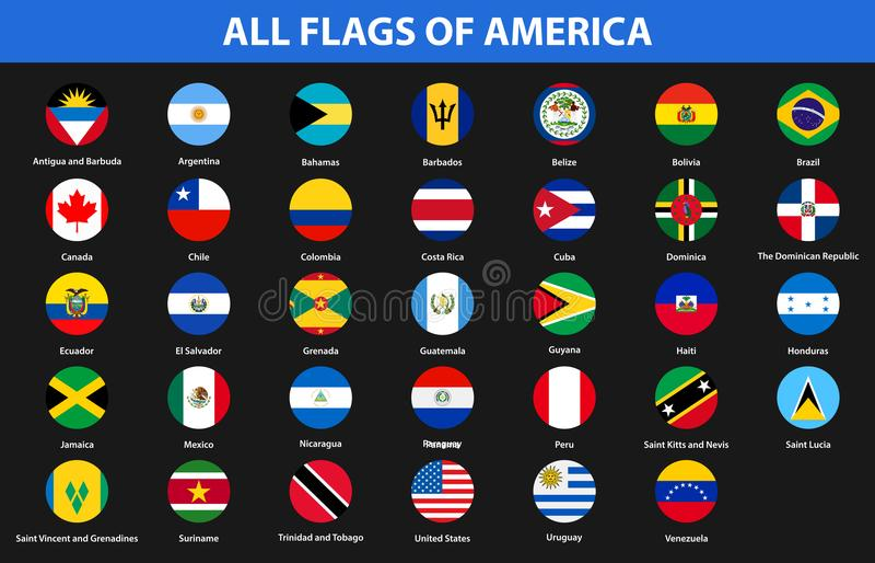 Flaggen aller Länder der amerikanischen Kontinente Flache Art vektor abbildung