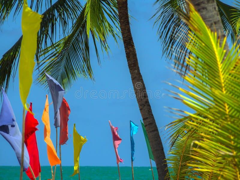 Flaggen auf dem Strand lizenzfreie stockfotografie