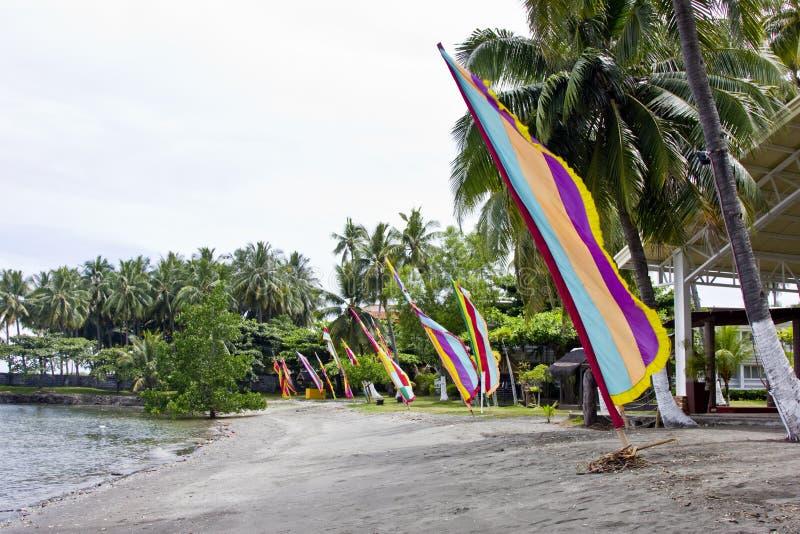 Flaggen auf einem Strand stockbilder