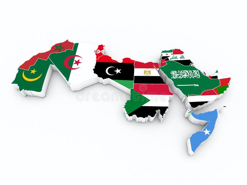 Flaggen der arabischen Liga Mitgliedsauf Karte 3D lizenzfreie abbildung