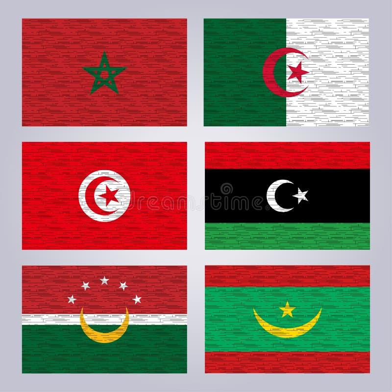 Flaggen der Mitgliedsstaaten des Union des Arabischen Maghreb stockbild