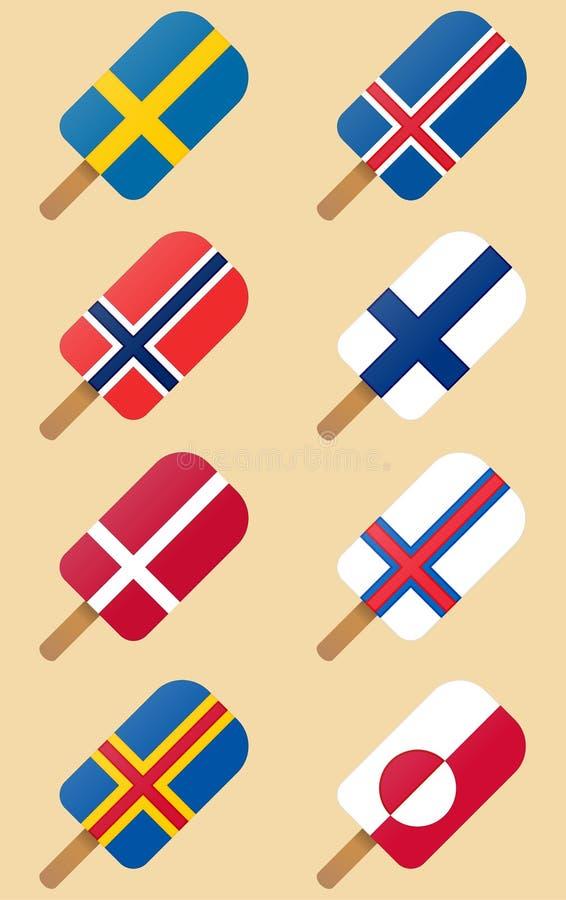 Flaggen der nordischen, skandinavischen Länder Eiscreme lizenzfreie abbildung