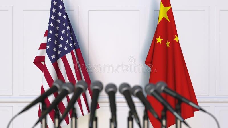Flaggen der USA und des Porzellans an der internationalen Sitzung oder an der Konferenz Wiedergabe 3d vektor abbildung