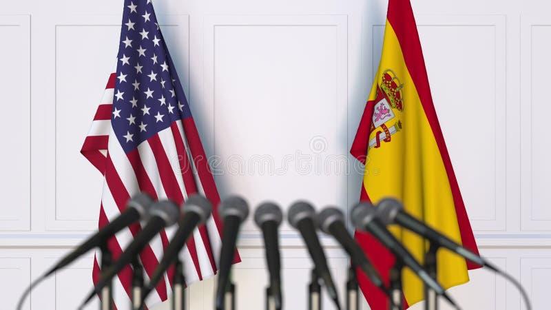 Flaggen der USA und des Spaniens an der internationalen Sitzung oder an der Konferenz Wiedergabe 3d lizenzfreie abbildung