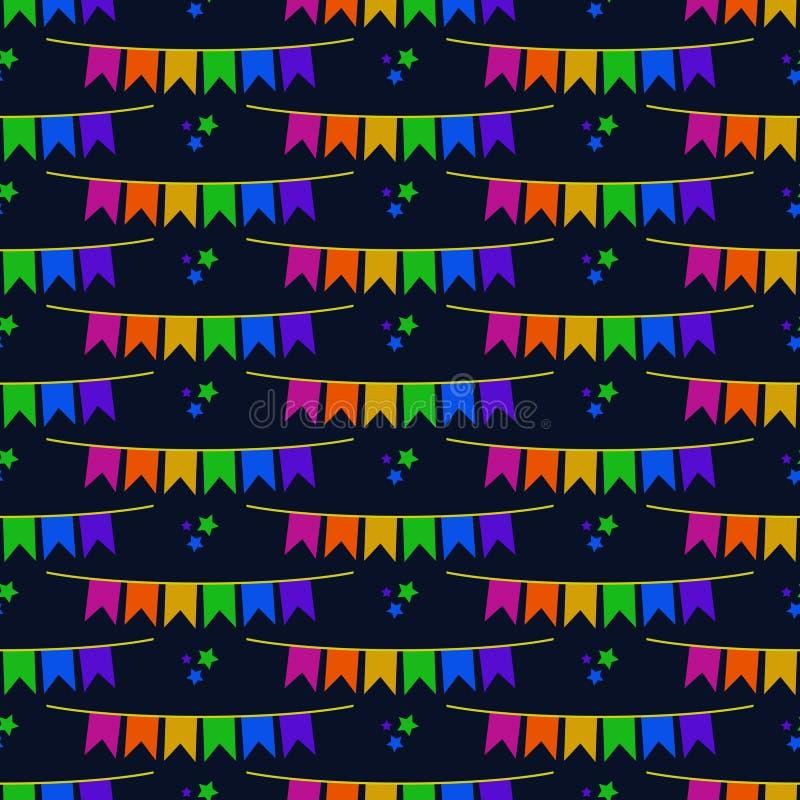 Flaggen-Fahnen-nahtloses Muster Festa Junina stock abbildung