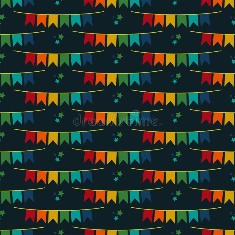 Flaggen-Fahnen-nahtloses Muster Festa Junina lizenzfreie abbildung