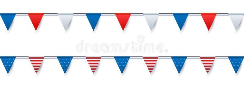 Flaggen-Flaggendekoration USA festliche Vektor lokalisierte Gegenstandillustration für verschiedene nationale Ereignisse stock abbildung