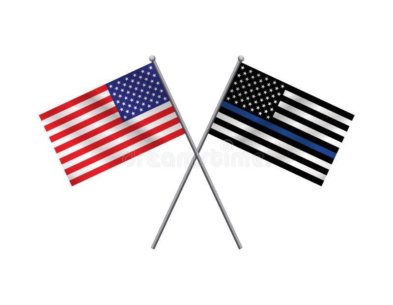 Flaggen-Illustration der amerikanischen Flagge und der Polizei Stütz vektor abbildung