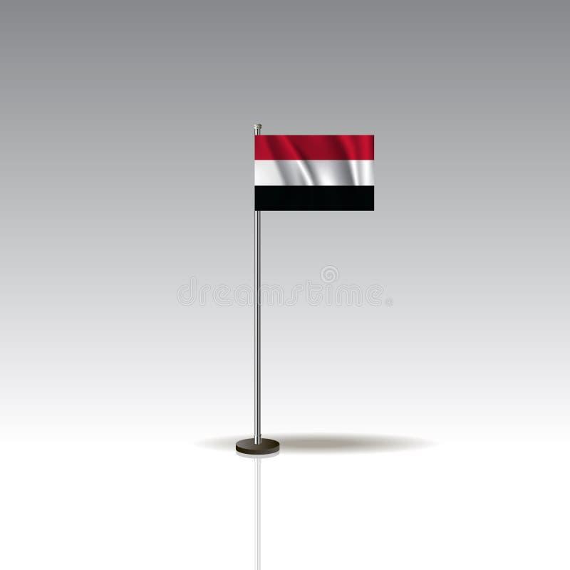 Flaggen-Illustration des Landes vom JEMEN Nationale JEMEN-Flagge lokalisiert auf grauem Hintergrund EPS10 vektor abbildung