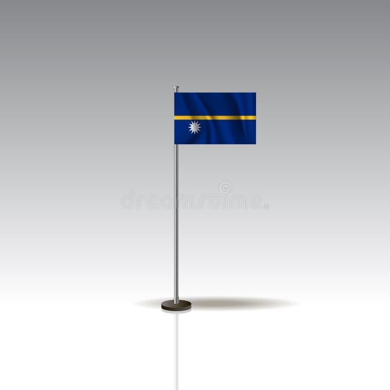 Flaggen-Illustration des Landes von NAURU Nationale NAURU-Flagge lokalisiert auf grauem Hintergrund Vektor EPS10 stock abbildung
