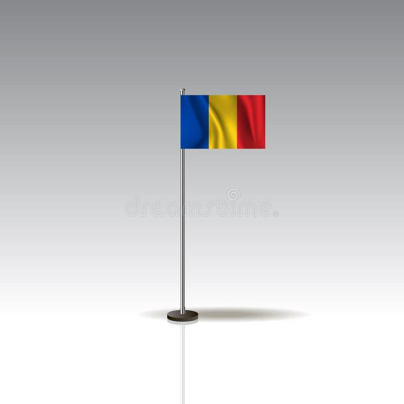 Flaggen-Illustration des Landes von RUMÄNIEN Nationale RUMÄNIEN-Flagge lokalisiert auf grauem Hintergrund lizenzfreie abbildung