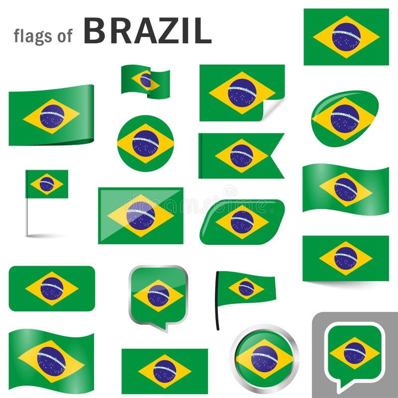 Flaggen mit Landfarben von Brasilien stock abbildung