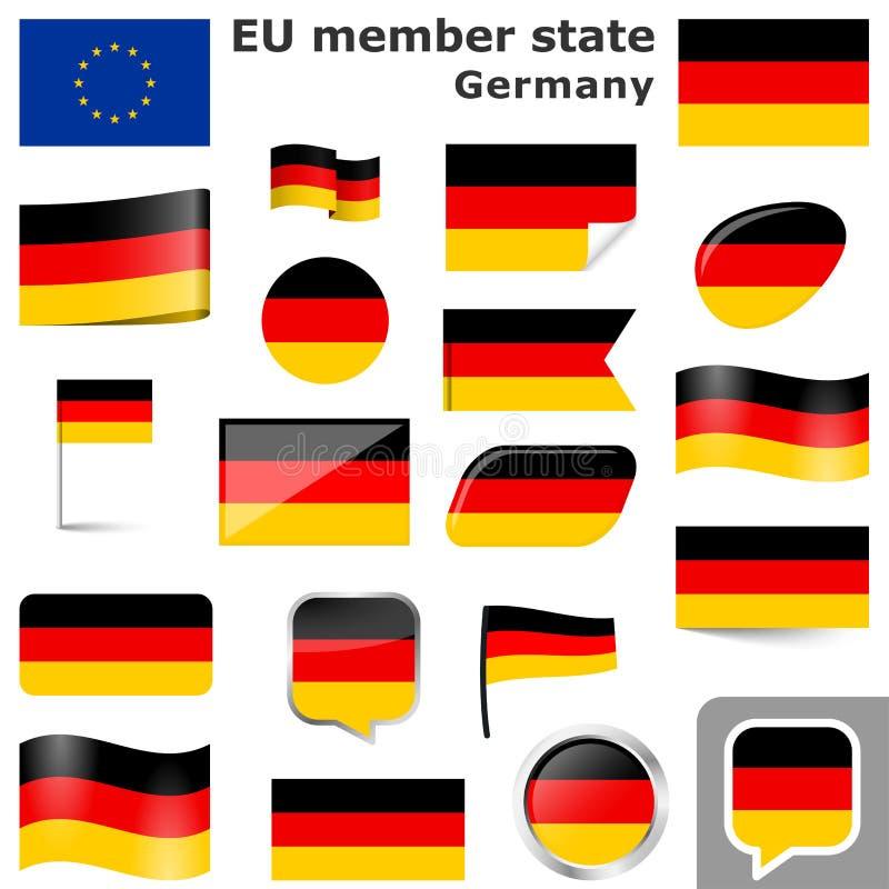 Flaggen mit Landfarben von Deutschland stock abbildung