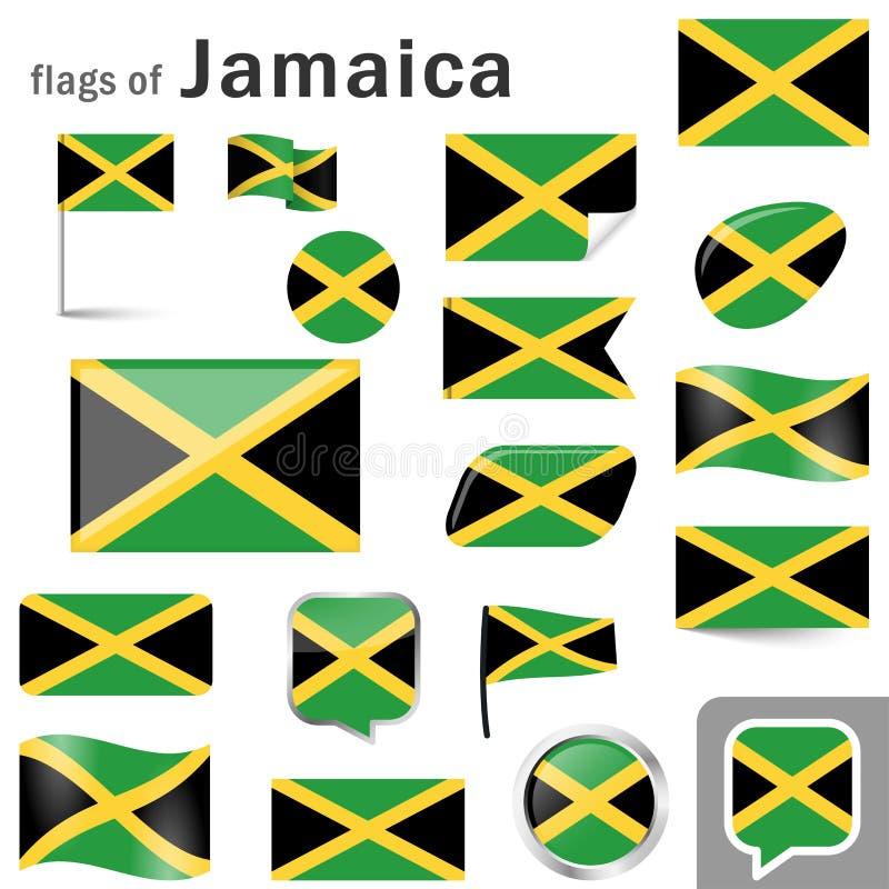 Flaggen mit Landfarben von Jamaika vektor abbildung