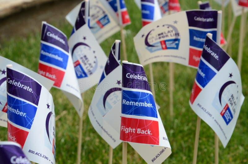 Flaggen am Relais für das Leben von Ann Arbor-Ereignis lizenzfreie stockfotos