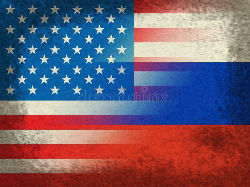 Flaggen-Schmutz Vereinigter Staaten und des Russen stellt das Zerhacken dar stock abbildung