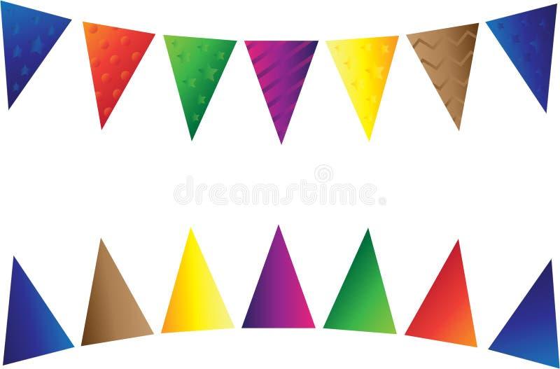 Flaggen sind mehrfarbiges dreieckiges stockfotos