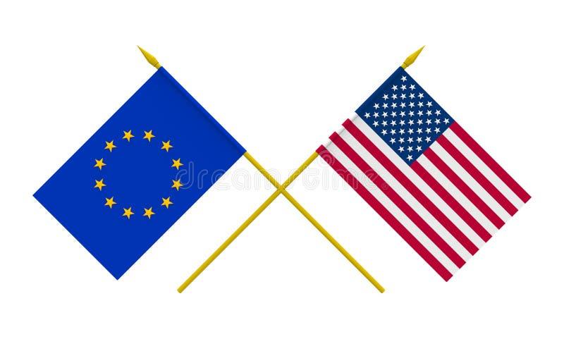 Flaggen, USA und Europ?ische Gemeinschaft vektor abbildung