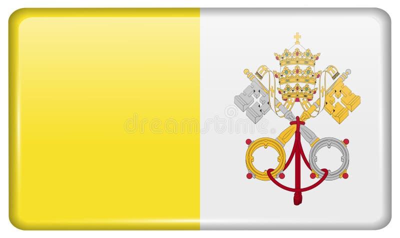 Flaggen Vatikan CityHoly sehen in Form eines Magneten auf Kühlschrank mit Reflexionslicht vektor abbildung