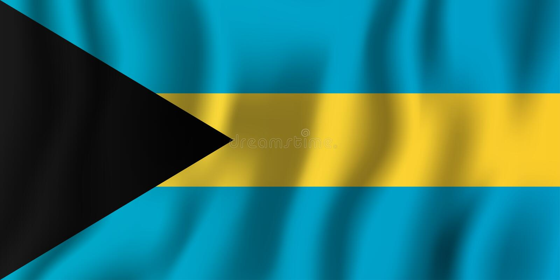 Flaggen-Vektorillustration Bahamas realistische wellenartig bewegende Nationales coun stock abbildung