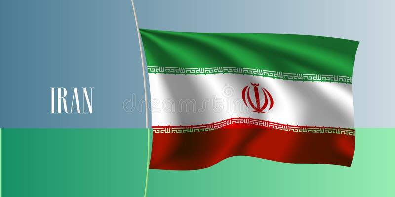 Flaggen-Vektorillustration des Irans wellenartig bewegende Ikonenhaftes Gestaltungselement vektor abbildung