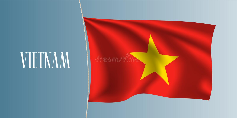 Flaggen-Vektorillustration Vietnams wellenartig bewegende stock abbildung