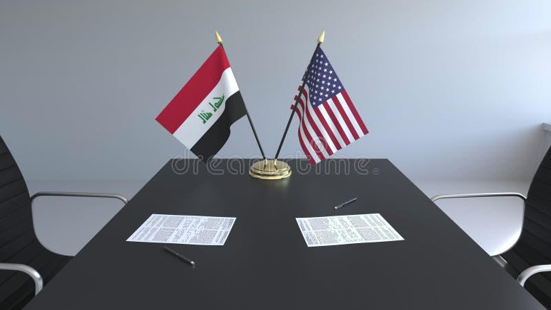 Flaggen vom Irak und Vereinigten Staaten und Papiere auf dem Tisch Verhandlungen und Unterzeichnen eines internationalen Abkommen stock abbildung