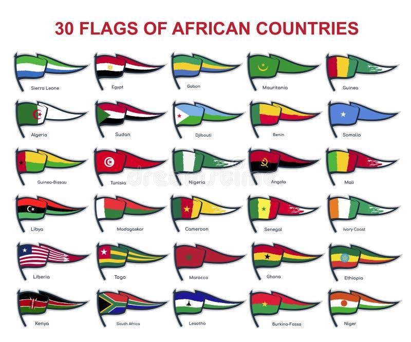 30 Flaggen von afrikanischen Ländern stock abbildung