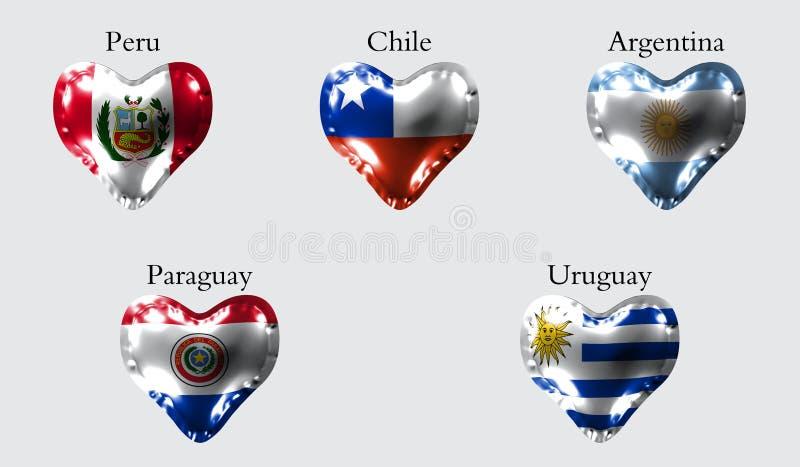 Flaggen von Amerika-Ländern Die Flaggen von Peru, Chile, Argentinien, Paraguay, Uruguay auf einem Luftball in Form eines Herzens  vektor abbildung