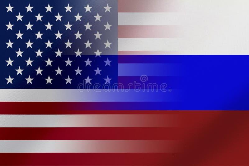 Flaggen von den Vereinigten Staaten von Amerika UND von RUSSLAND das gekommen ein Konzept, das den Handel bedeutet, politisch ode lizenzfreies stockbild