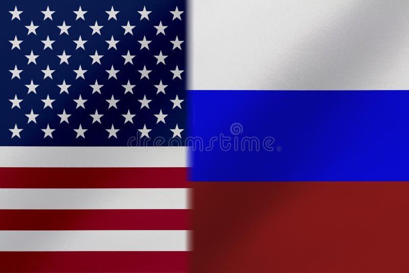 Flaggen von den Vereinigten Staaten von Amerika UND von RUSSLAND das gekommen ein Konzept, das den Handel bedeutet, politisch ode lizenzfreie stockfotos