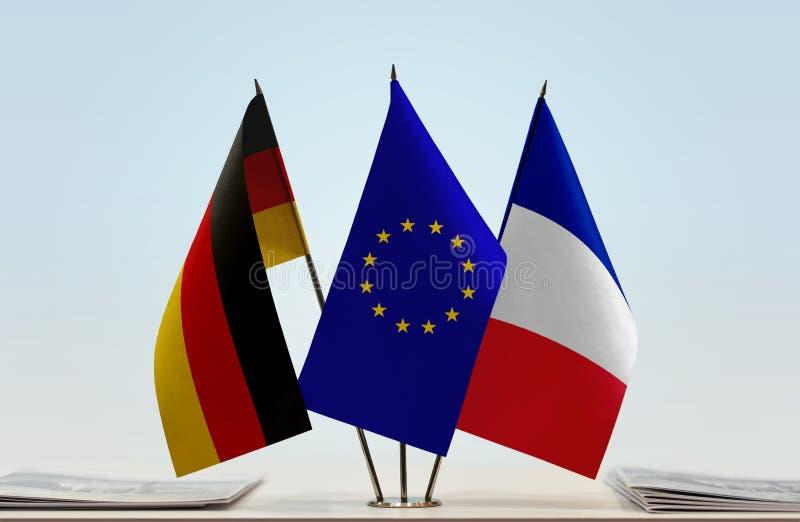 Flaggen von Deutschland-Europäischer Gemeinschaft und Frankreich stockfoto