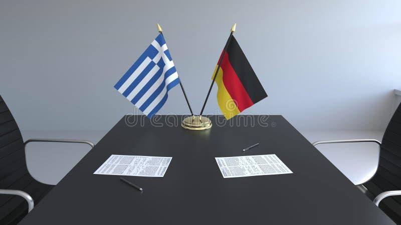 Flaggen von Griechenland und Deutschland und Papiere auf dem Tisch Verhandlungen und Unterzeichnen eines internationalen Abkommen stock abbildung