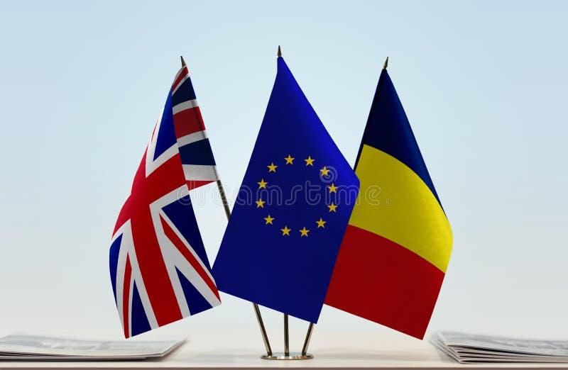 Flaggen von Großbritannien EU und von Tschad stockfotografie
