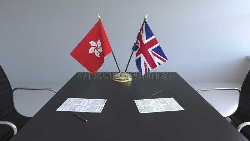Flaggen von Hong Kong und Großbritannien und Papiere auf dem Tisch Verhandlungen und Unterzeichnen eines internationalen Abkommen vektor abbildung