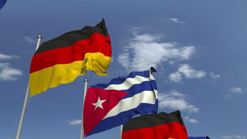 Flaggen von Kuba und von Deutschland gegen blauen Himmel, Wiedergabe 3D lizenzfreie abbildung
