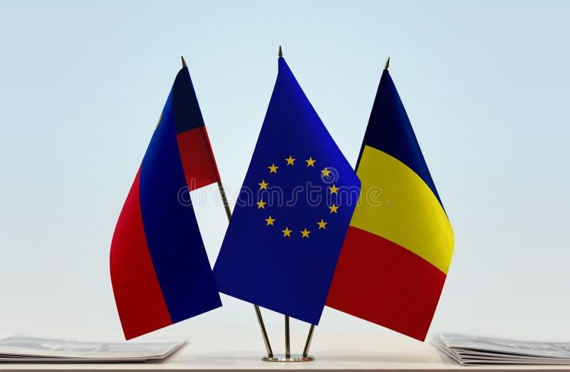 Flaggen von Liechtenstein EU und von Tschad stockfotos