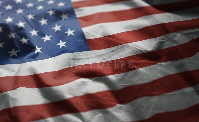 Flaggen-zerknitterter Abschluss der Vereinigten Staaten von Amerika oben lizenzfreie stockfotografie