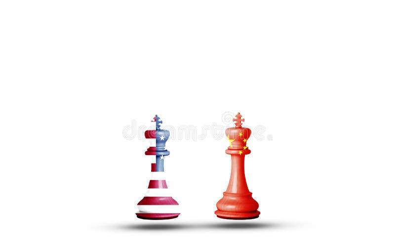 Flaggenbildschirm der USA und Chinas auf King-Schach mit weißem Hintergrund Sie ist Symbol für die Handelskriegssteuerschranke zw vektor abbildung